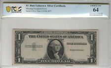 1935 $1 SILVER CERTIFICATE MISSING OVERPRINT ERROR NOTE PCGS B CHOICE UNC 64