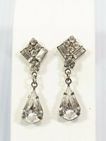 Vintage Silver Tone Art Deco Style Teardrop Rhinestone Dangle Earrings 15353