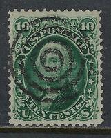 SCOTT 68a 1861 10 CENT WASHINGTON REGULAR ISSUE DARK GREEN SHADE USED VF CAT $85