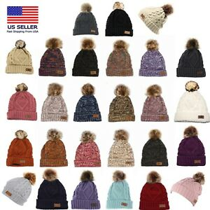 Women's Winter Fleece Fuzzy Lined Cable Knitted Pom Pom Cold Multi Color Beanie