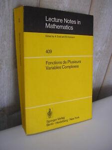 Séminaire François Norguet Fonctions de plusieurs variables complexes Springer