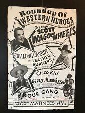 "Roundup of Western Heroes Original One Sheet Movie Poster 1950's? - 27"" x 41"" VG"