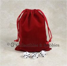"""NEW 5"""" x 7"""" Red Velveteen Cloth Dice Bag RPG D&D Game Tokens Counter Pouch"""