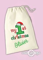 Personalised My First 1st Christmas Gift Baby Present  Santa Sack Bag Stocking