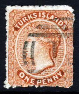 TURKS & CAICOS ISLANDS QV 1873-9 1d. Dull Red Wmk Star Sideways SG 5 VFU