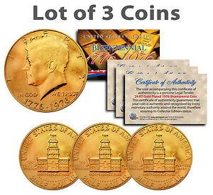 "BICENTENNIAL 1976 JFK HALF DOLLAR 24KT GOLD ""3 COIN LOT"" W/H COA & CAPSULES"