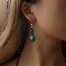 Natural Stone Drop Earrings Turquoise Beaded Blue Crystal Tibetan Silver