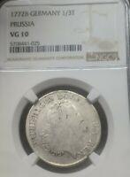 1772B Germany/Prussia 1/3 Thaler NGC VG10 Superb Original Rare Silver Coin