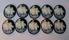 CLOSEOUT LOT 10 PCS Cameo Older Resin Venus & Cupid Black & White Unset  38x48mm