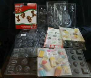 Lot of 15 plastic Chocolate Candy Molds 9 Christmas 6 Misc. 7 Wilton Brand +Misc