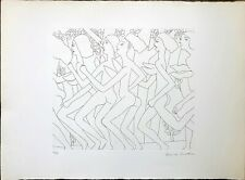 Dancing Nude V, Vintage Lithograph Embossed, Etching Print by Knox Martin