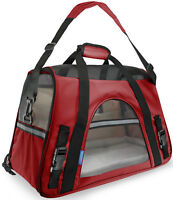 Pet Carrier Soft Sided Large Cat Dog Comfort Crimson Red Travel Bag FAA Approved