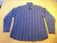 Hugo boss XL men's Button Front Striped blue black cotton L/S Dress Shirt