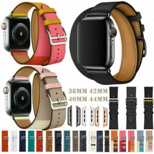For Apple Watch Series 6 5 4 3 2 1 Genuine Leather Watch Band Double Tour Straps