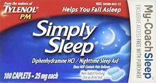 2 Pack Tylenol PM Simply Sleep Nighttime Sleep Aid 25mg 100 Caplets Each