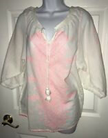 Anthropologie MAEVE White Cotton Embroidered Tunic Pink Boho Tassels Sz 8 EUC
