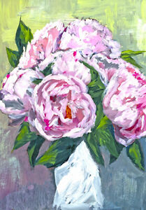 Darling Peony Bouquet Peonies Flower Modern Wall Art Poster Canvas Print A3