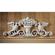 Victorian Ornamental Foundry Iron Doves Urn Wall Pediment
