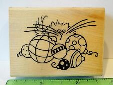 Stampendous FLUFFLES AND BAUBLES rubber stamp NEW Cat Christmas ornaments