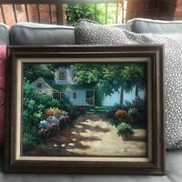 Framed oil painting signed Berumen farmhouse and flowers Cottage Summer shadows