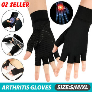 Arthritis Gloves Compression Copper Hand Wrist Support Brace Finger Pain Relief