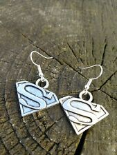 Handmade Silver DC Comics Superman Super Hero Earrings Comic Con Book Christmas