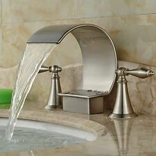 Rozin Widespread 3pcs Waterfall Spout Bathtub Filler Faucet Brushed Nickel Basin