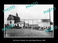 OLD LARGE HISTORIC PHOTO OF DEL NORTE COLORADO, VIEW OF THE BINGEL BREWERY c1890
