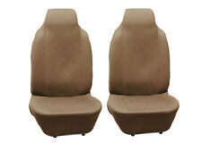 2 Pcs Beige/Tan Bucket Polyester Cloth Front Seat Cover High Back Pair of Two