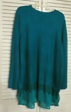 The Limited Plus Size 3X Womens Teal Layered Look Long Tunic Sweater w Extension