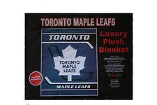"""TORONTO MAPLE LEAFS NHL HOCKEY LOGO LUXURY PLUSH BLANKET BEDSPREAD 79"""" X 94"""" IN."""