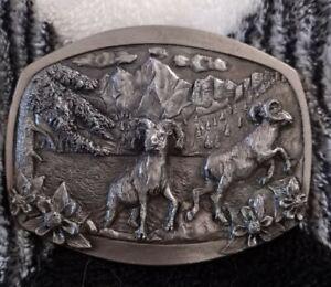 Vtg1985 C+J Big Horn Sheep Ram Pewter Belt Buckle NOS NIB USA