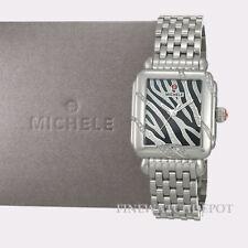 Authentic MICHELE Ladies Deco Safari Zebra Diamond Watch MW06TO1F7922