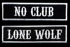 No Club Lone Wolf Patch Set of 2 Motorcycle Biker Car Club MC Black White