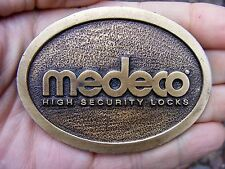 Vtg MEDECO Belt Buckle DOOR Deadbolt LOCK Security HIT LINE Pewter RARE VG++