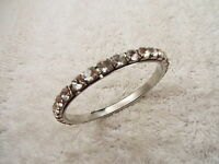 Silvertone Large Rhinestone Bangle Bracelet (D74)