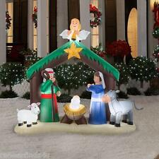 7' NATIVITY JESUS STABLE CHRISTMAS ANGEL SCENE  Airblown Inflatable Yard Decor