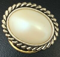 VINTAGE SCARF HOLDER CLIP GOLD TONE METAL FAUX PEARL CABOCHON WESTERN GERMANY