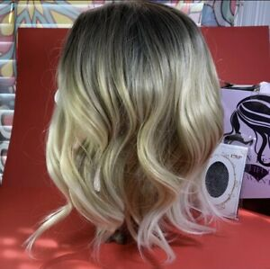 short curly Heat Resistant ombre blonde synthetic wig bob wavy NEW Q1