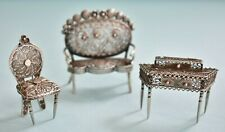 Antique Silver Filigree Miniature Sofa Writing Desk Chair Doll House Furniture