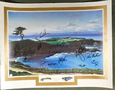 """Dream Course """"Hole 16 Cypress"""" Lithograph Signed By 14 Golfers Woods,Palmer GAI"""