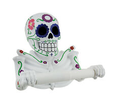 Smelly Skelly White Day of the Dead Sugar Skull Toilet Tissue Holder