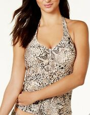 NEW Calvin Klein Snake Print Women's Swimsuit Halter Top Tan Black, Size Small