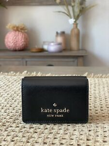 Kate Spade New York Staci Micro Trifold Wallet In Black / Gold