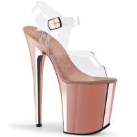 Pleaser FLAMINGO-808 Women's Clear Rose Gold Chrome Platform Ankle Strap Sandals