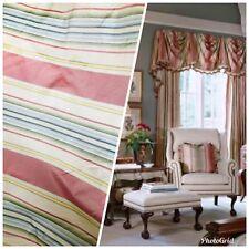 SALE! Striped 100% Silk Taffeta Fabric With Faded Colorful Stripes