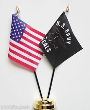 United States of America & US Navy Seals Double Friendship Table Flag Set