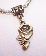Rose Flower Bud Bronze Tone Dangle Bead Gift for European Style Charm Bracelets