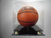 Basketball Display Case acrylic with two-tier black base. Gold corner risers NBA