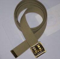 BELT NEW TAN CANVAS WEB MILITARY ARMY MARINE ALLOY BRASS FINISH BUCKLE M1 w P38